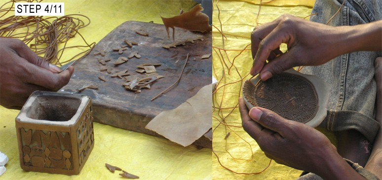 Wax patterns created for making brass dhokra pieces