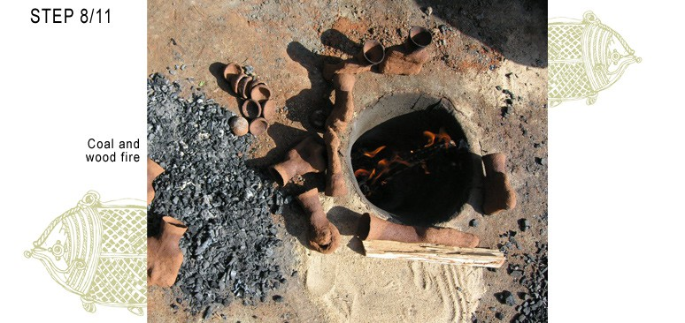 Dhokra clay mold in earth furnace