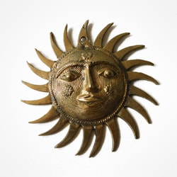 Brass dhokra sun medallion created by Sasha