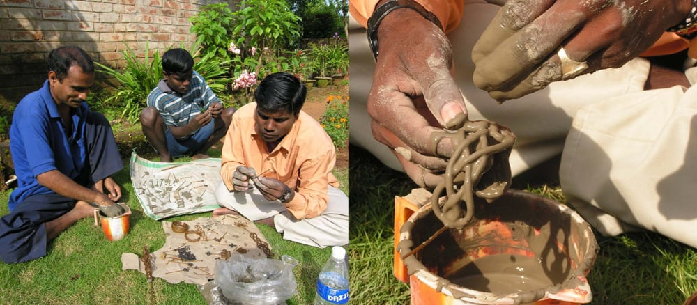 Creating wax molds for dhokra brass casting