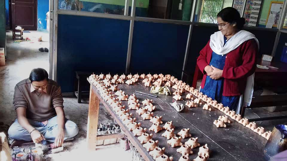 Asha Niketan making candles