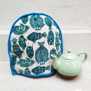 Fish print tea cosy by Sasha