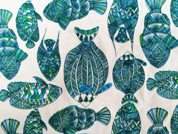 Detail of fish print tea cosy by Sasha