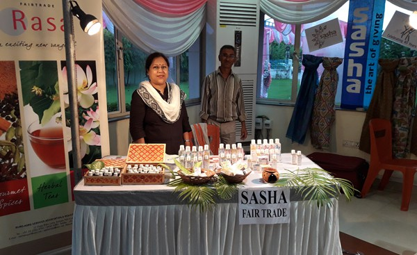 Selling Sasha products at an exhibition